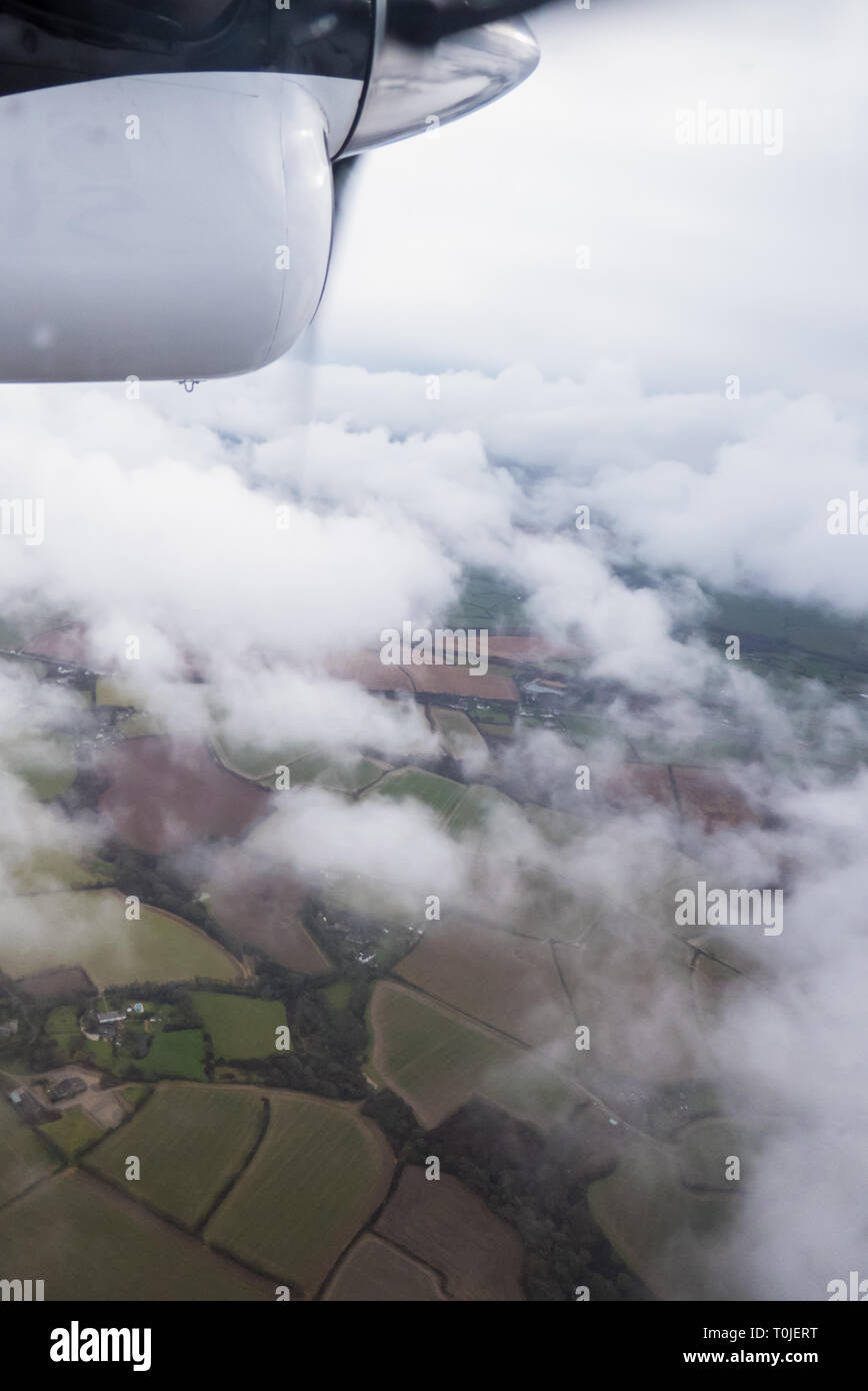 In the air over Cornwall: Newquay to St. Mary's Skybus, DHC-6 Twin Otter - Stock Image