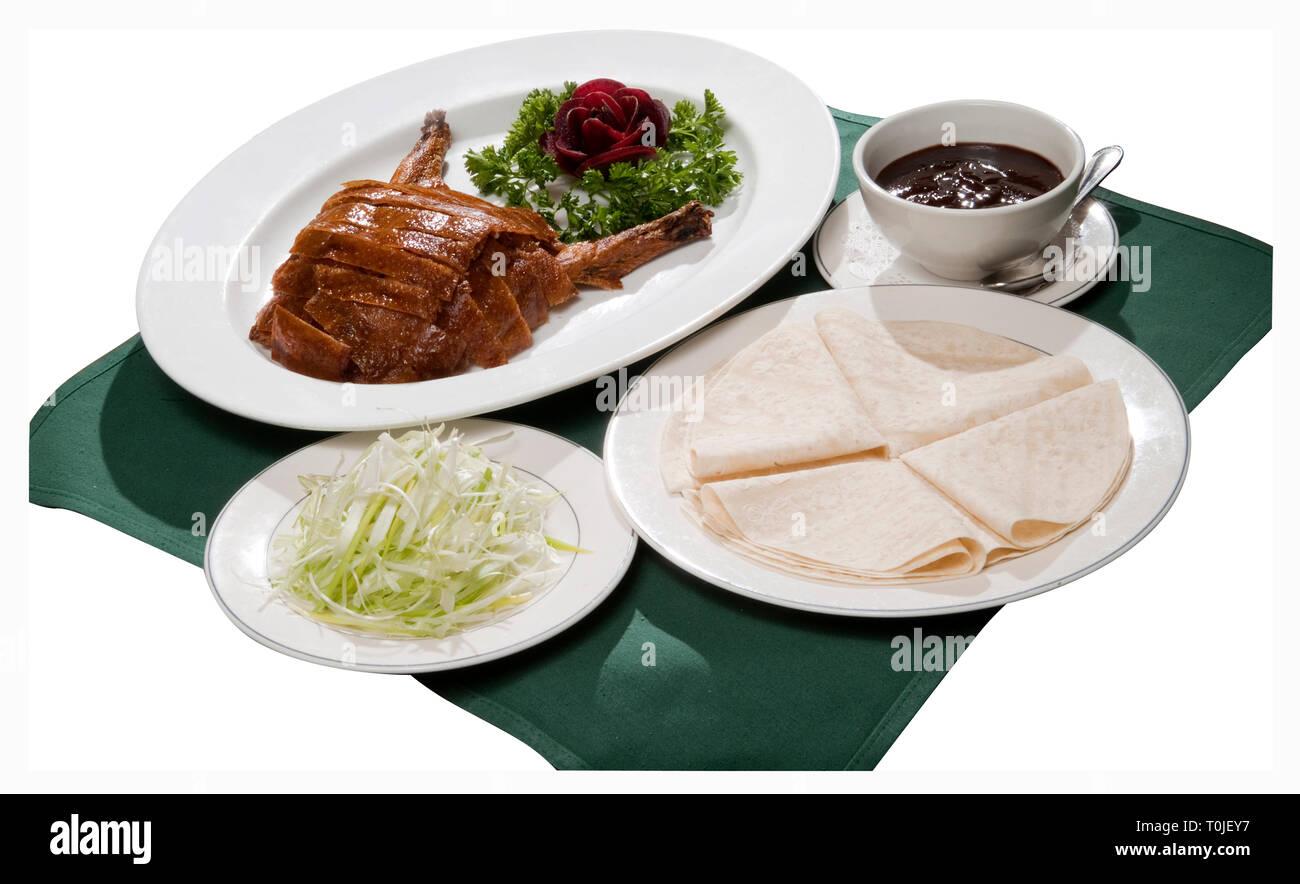 Crispy Duck Chinese Pancake Dinner - Stock Image