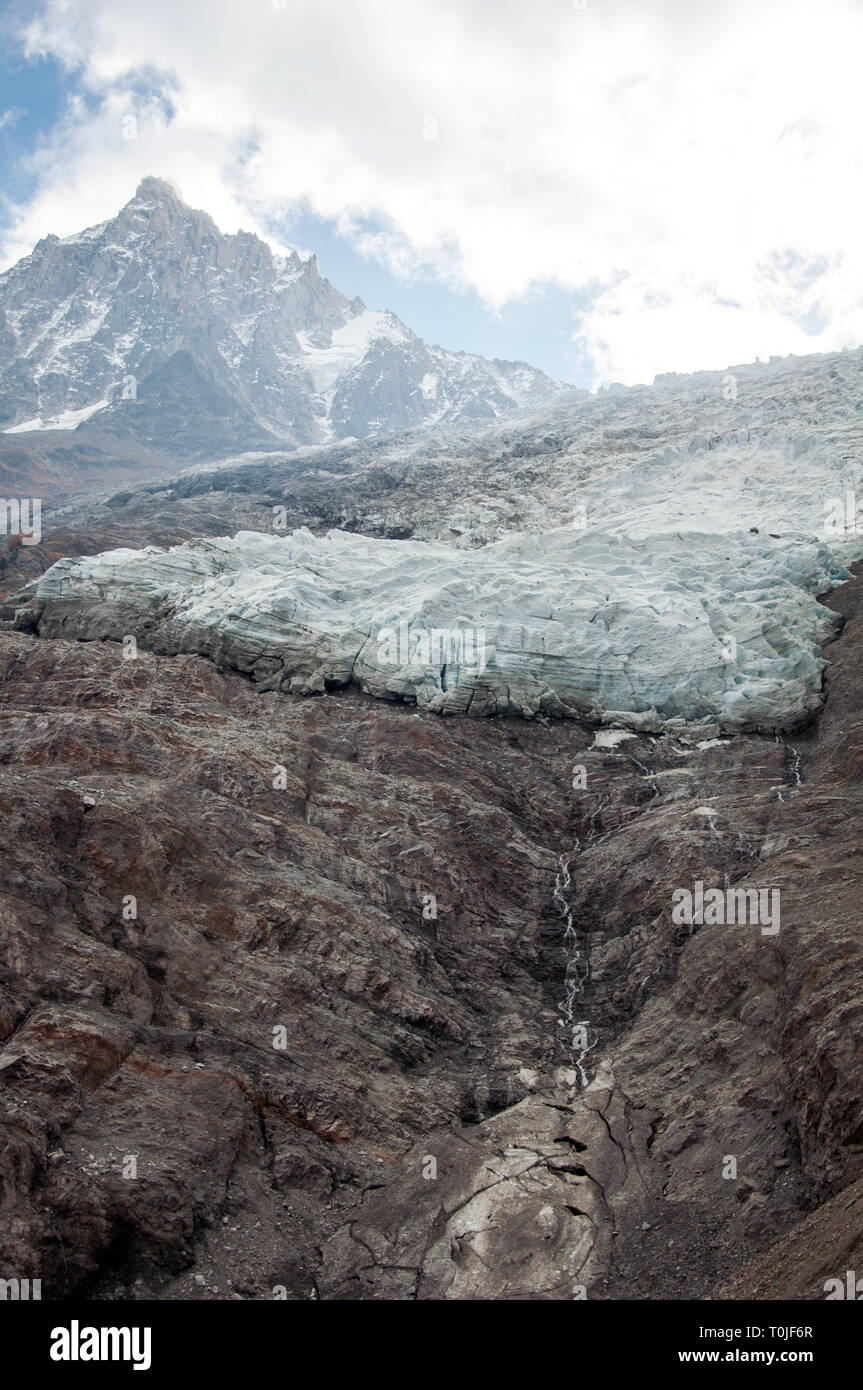 View of glacier des bossons and Aiguille du Midi Stock Photo