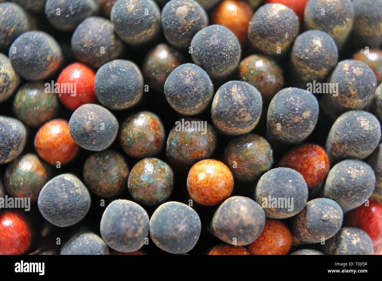 Powder match heads macro, close-up - Stock Image
