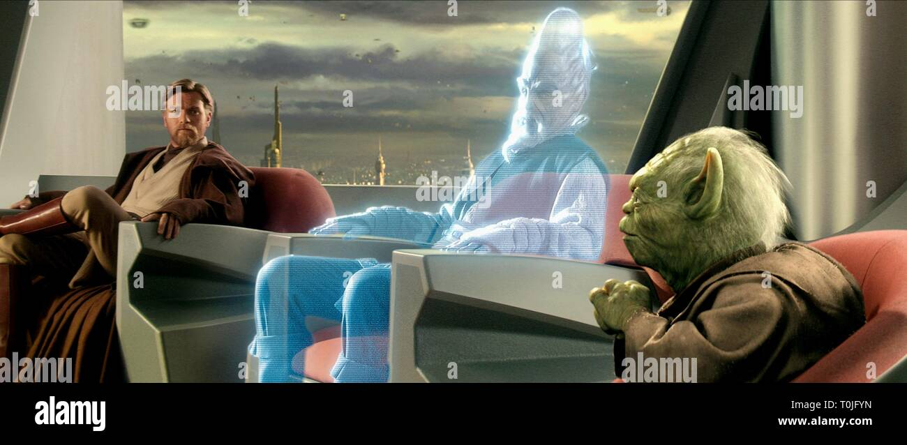 EWAN MCGREGOR, SILAS CARSON, YODA, STAR WARS: EPISODE III - REVENGE OF THE SITH, 2005 - Stock Image