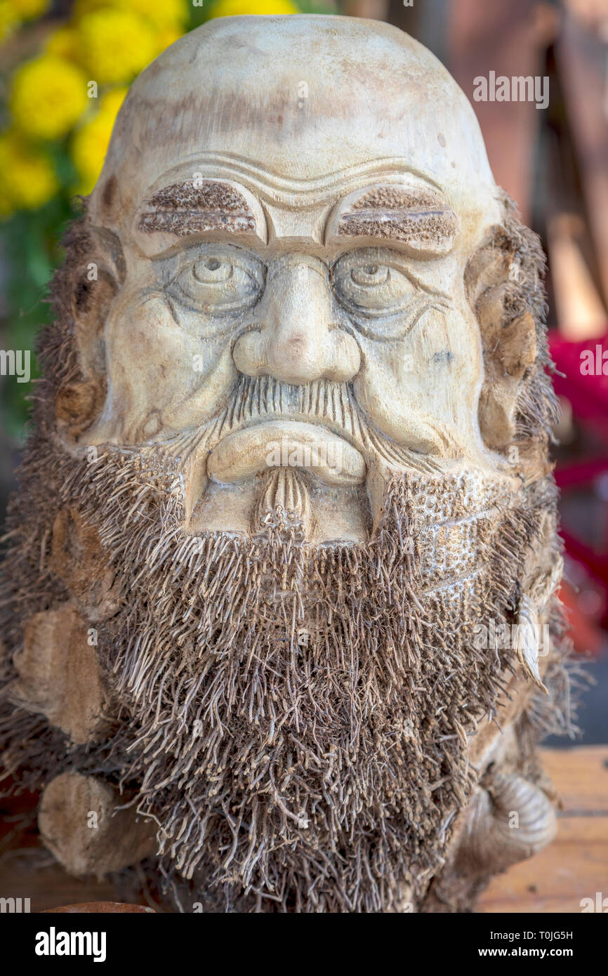 A wooden carving of the respected Polish Kazimierz Kwiatkowski, practically forgotten in his homeland, was known and respected in Vietnam. - Stock Image