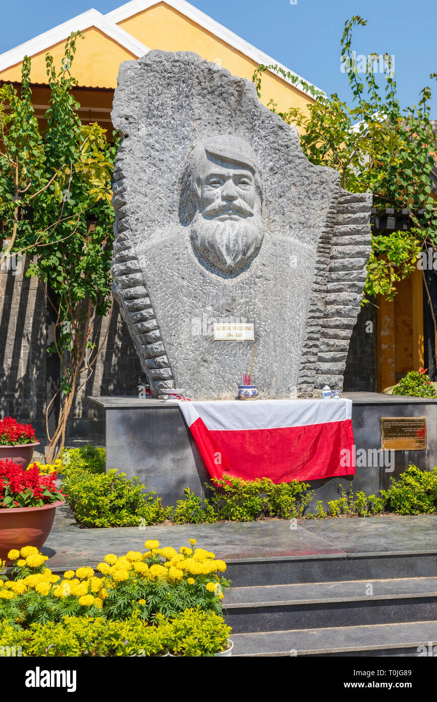 Monument and carving of the respected Polish Kazimierz Kwiatkowski, practically forgotten in his homeland, was known and respected in Vietnam. - Stock Image