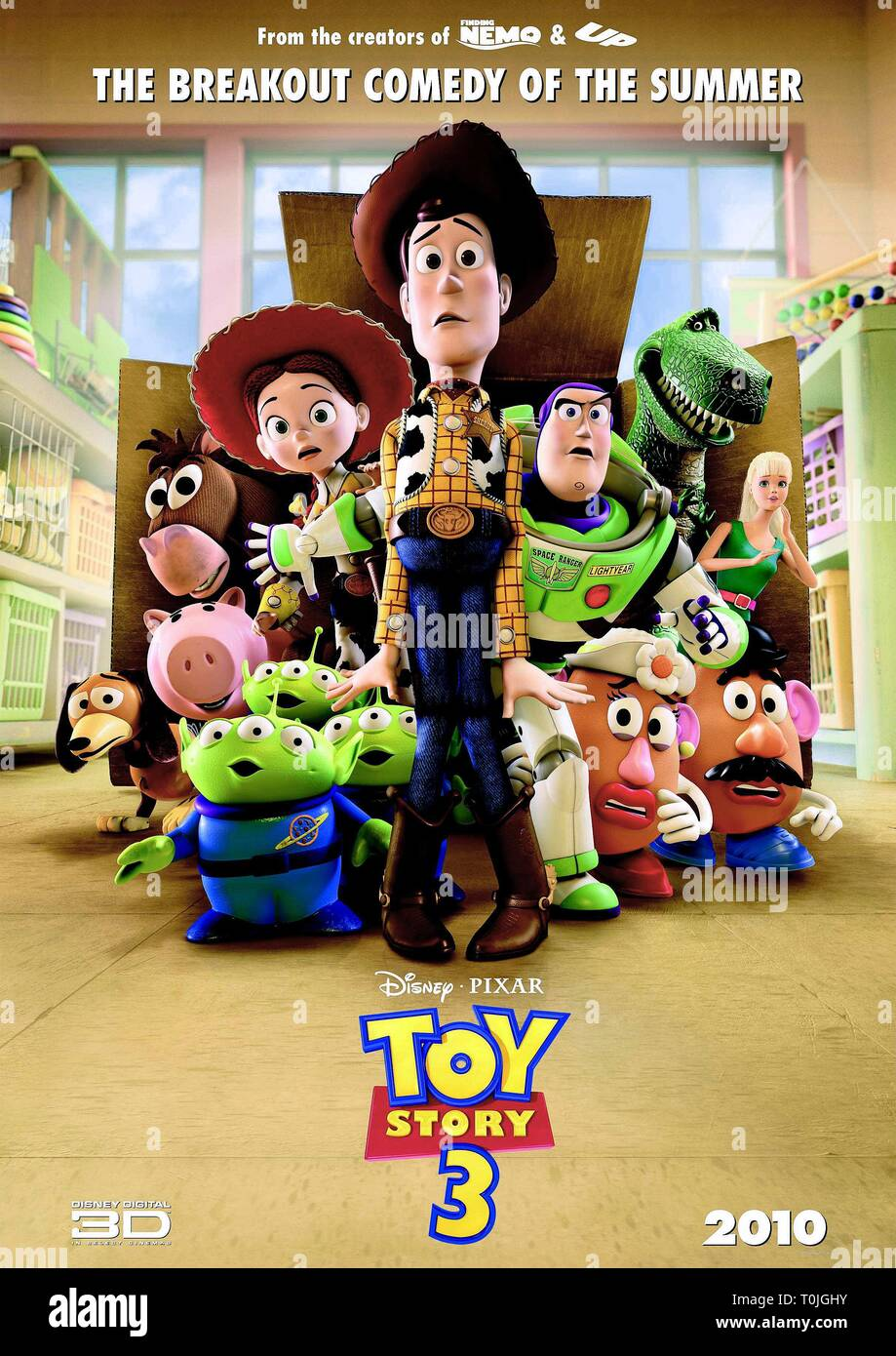 TOY STORY 3, SLINKY, BULLSEYE, HAMM THE PIGGY BANK, JESSIE, ALIENS, WOODY, BUZZ LIGHTYEAR, MRS. POTATO HEAD, REX, MR. POTATO HEAD , BARBIE, 2010 - Stock Image
