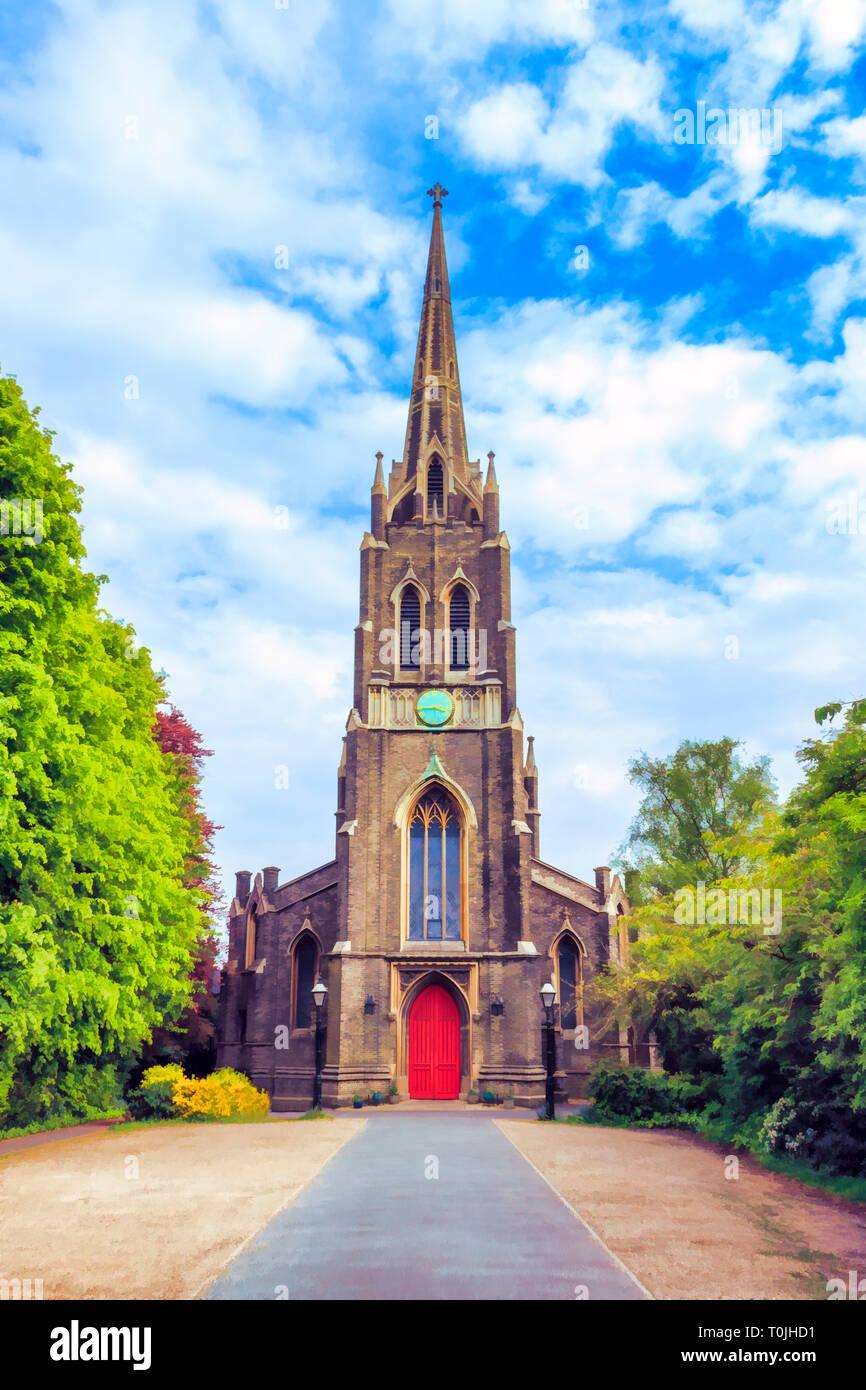 Digital illustration of St Michael's Church, South Grove, Highgate Village, London, UK - Stock Image