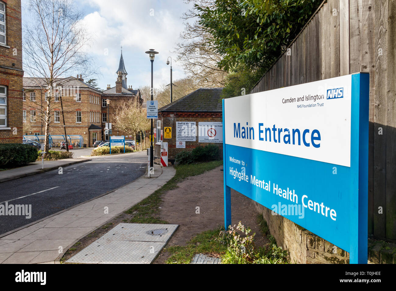 The entrance to Highgate Mental Health Centre, part of Camden and Islington NHS Trust, Dartmouth Park Hill, North London, UK - Stock Image