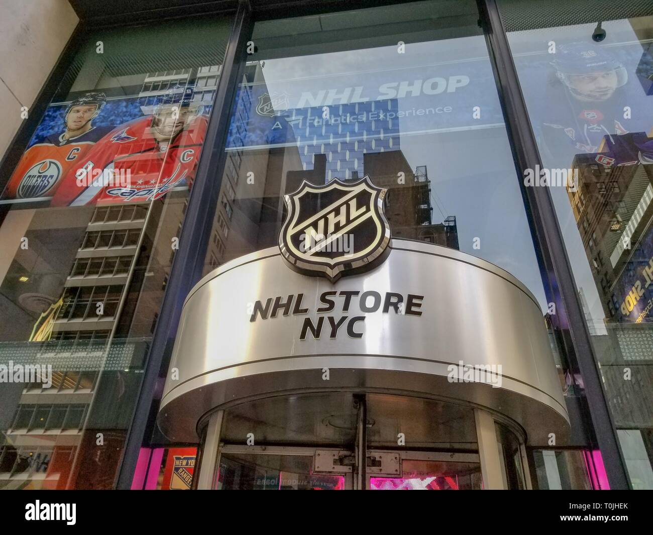 867b83a3a53 Sign at entrance to the National Hockey League (NHL) store in Manhattan, New