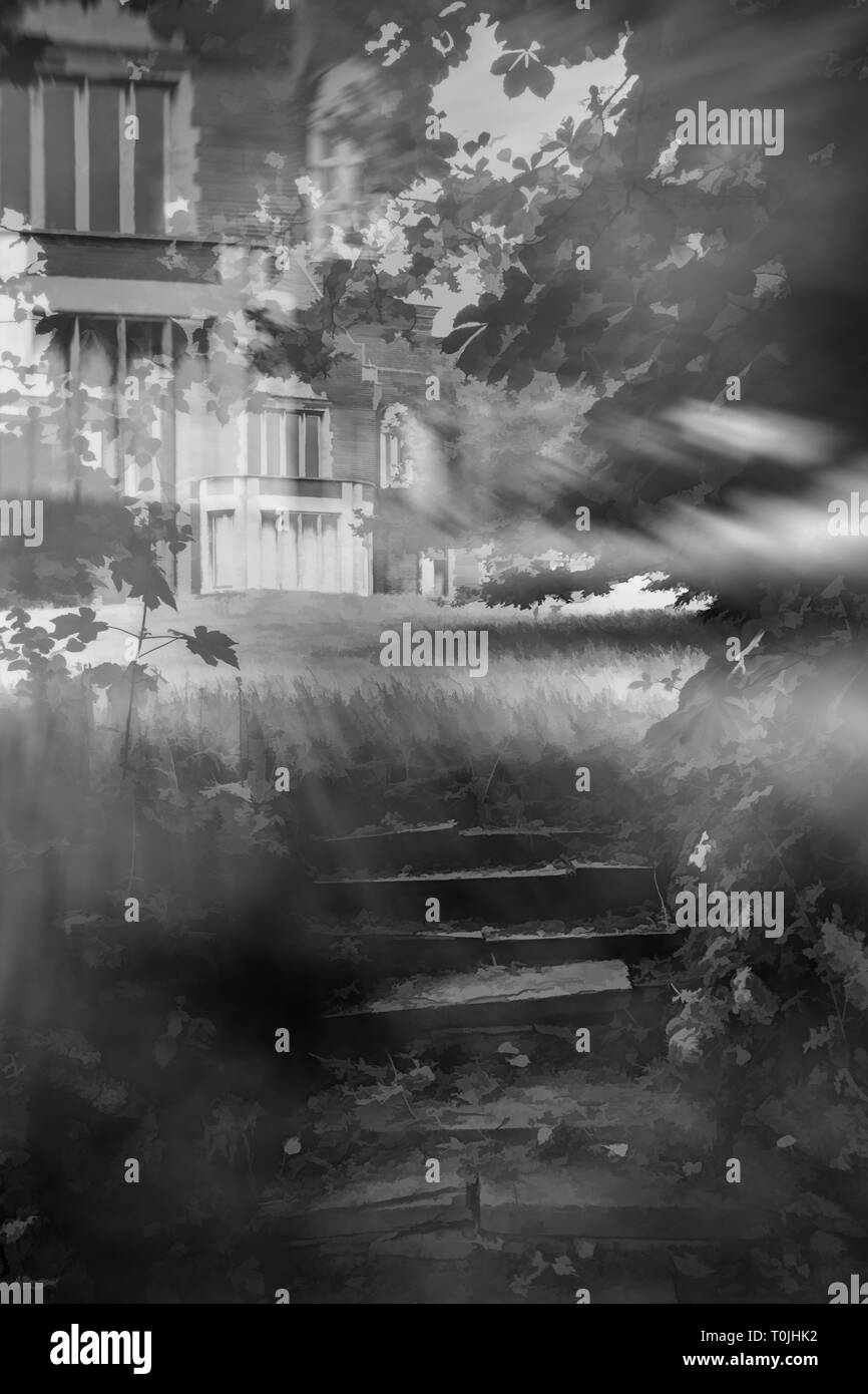Digital illustration of broken down stone steps leading through trees and bushes to a spooky empty mansion illuminated by moonlight at night Stock Photo