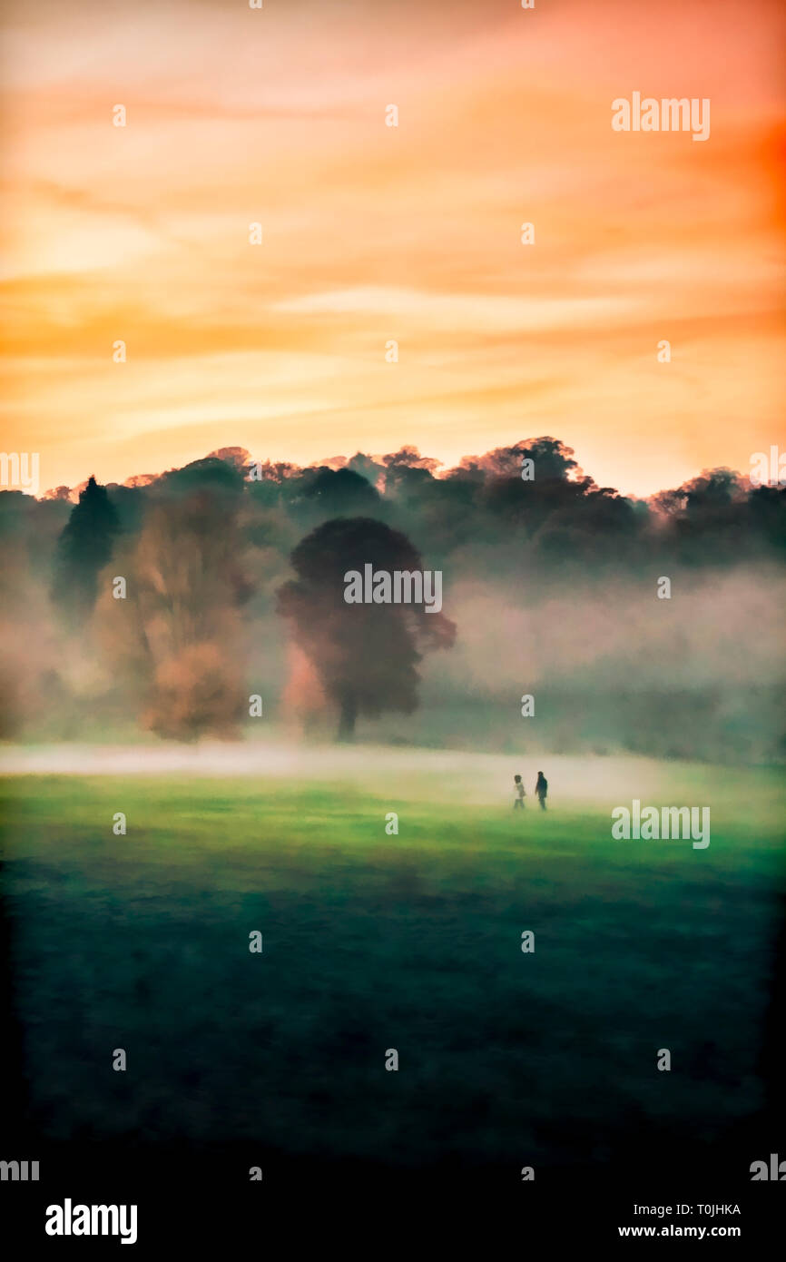 Digital watercolour-style illustration of two distant figures walking across a misty autumn woodland meadow at sunset, suitable for a book cover - Stock Image