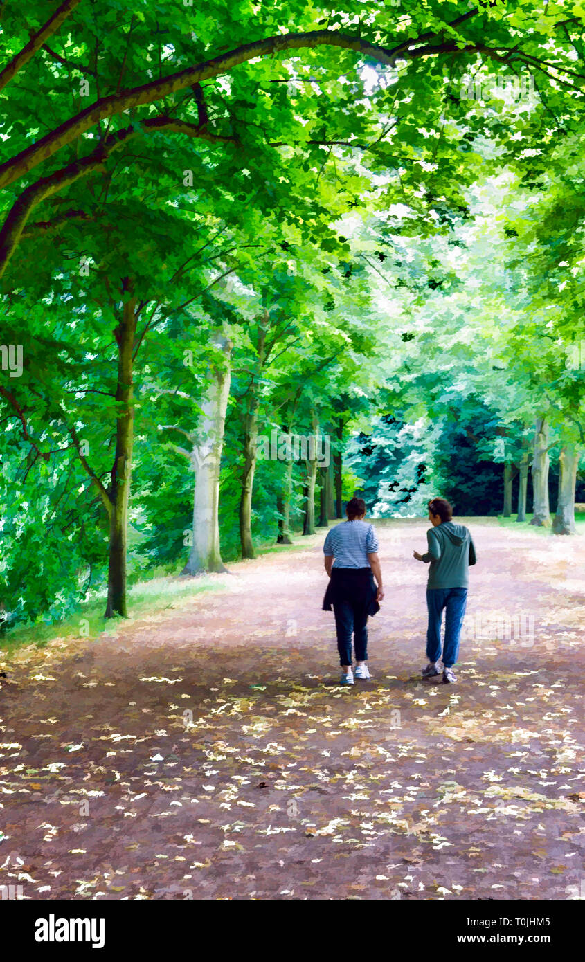Digital illustration of two women walking and chatting on a woodland path in an avenue of green trees Stock Photo