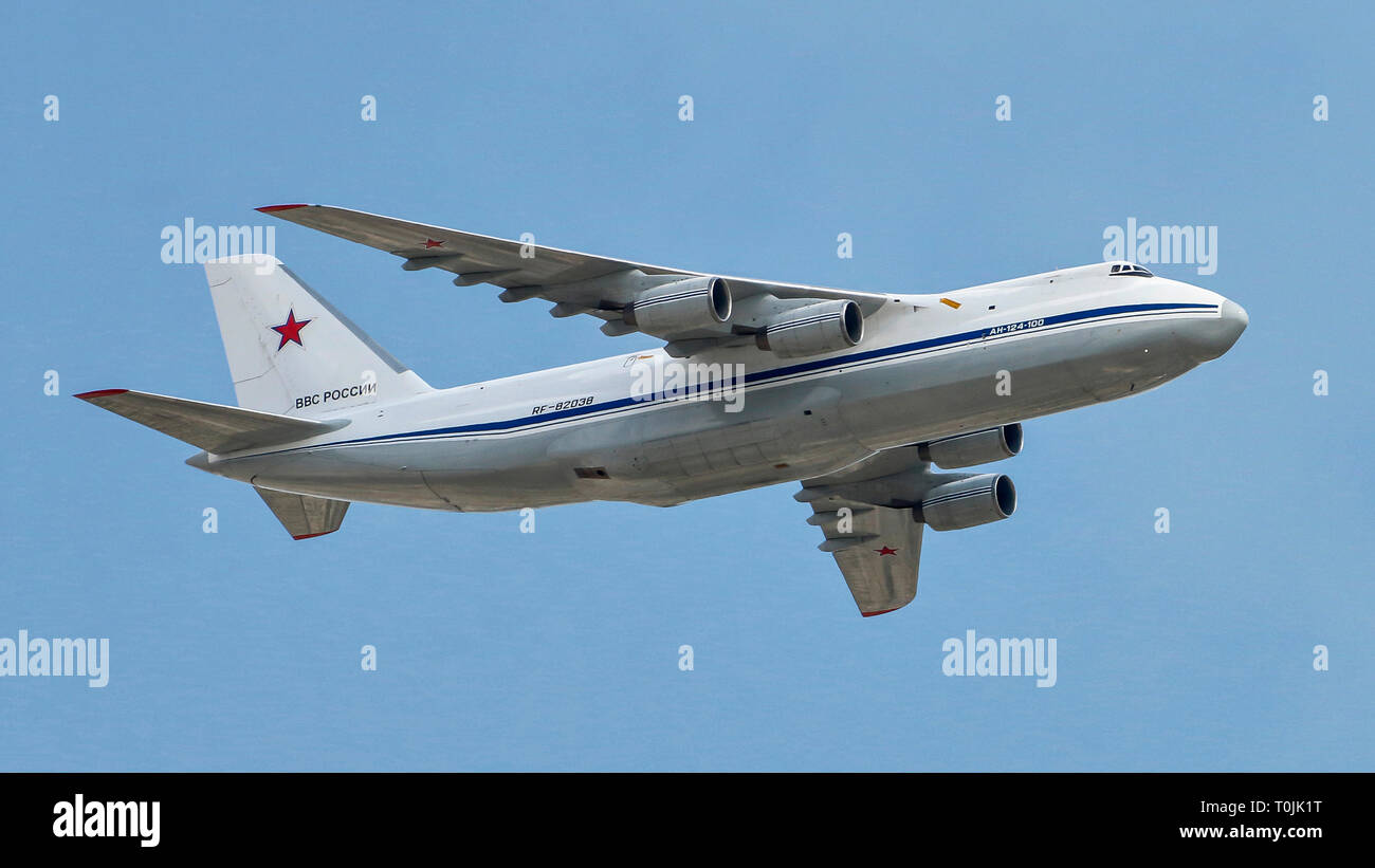 Antonov An-124-100 Russian - RF-82038 - Moscow Victory Parade. - Stock Image