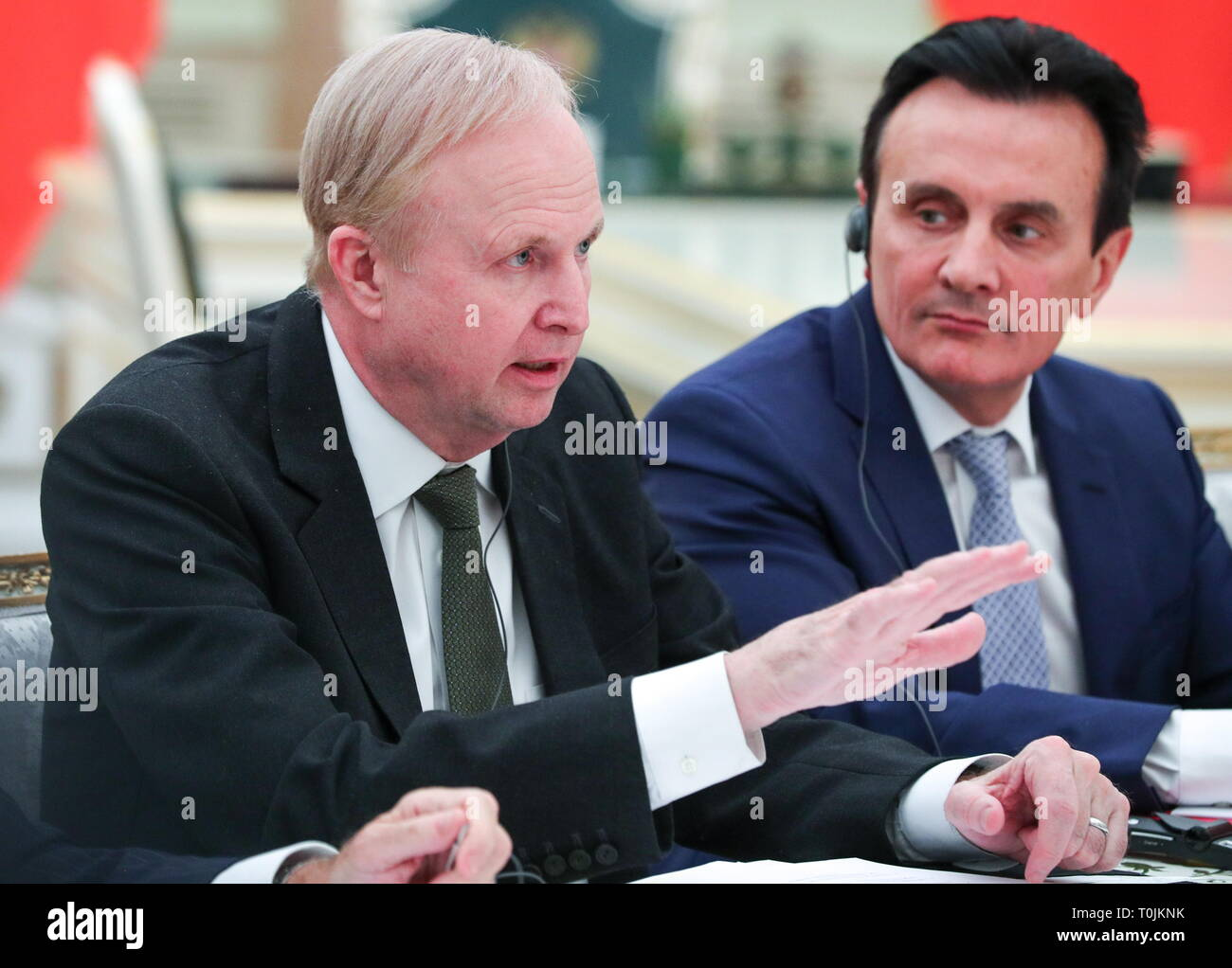 Moscow, Russia. 20th Mar, 2019. MOSCOW, RUSSIA - MARCH 20, 2019: BP Chief Executive Robert Dudley (L) and AstraZeneca CEO Pascal Soriot during a meeting between other British businessmen and Russia's President Vladimir Putin at the Moscow Kremlin. Mikhail Tereshchenko/TASS Credit: ITAR-TASS News Agency/Alamy Live News - Stock Image
