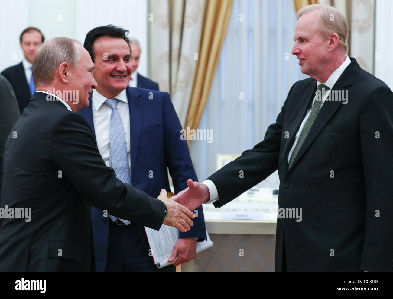 Moscow, Russia. 20th Mar, 2019. MOSCOW, RUSSIA - MARCH 20, 2019: Russia's President Vladimir Putin during a meeting with AstraZeneca CEO Pascal Soriot, BP Chief Executive Robert Dudley (L-R) and other British businessmen at the Moscow Kremlin. Mikhail Tereshchenko/TASS Credit: ITAR-TASS News Agency/Alamy Live News - Stock Image