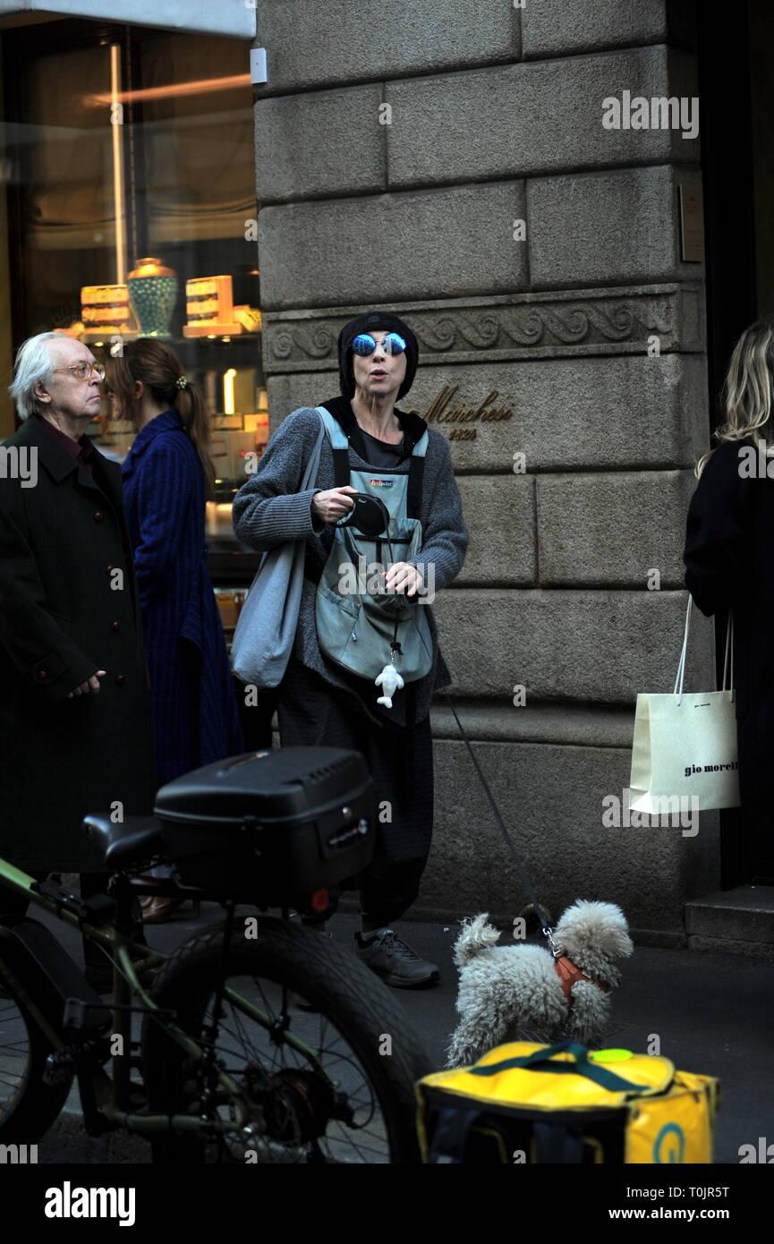 Milan, Veronica Pivetti in the center meets a friend