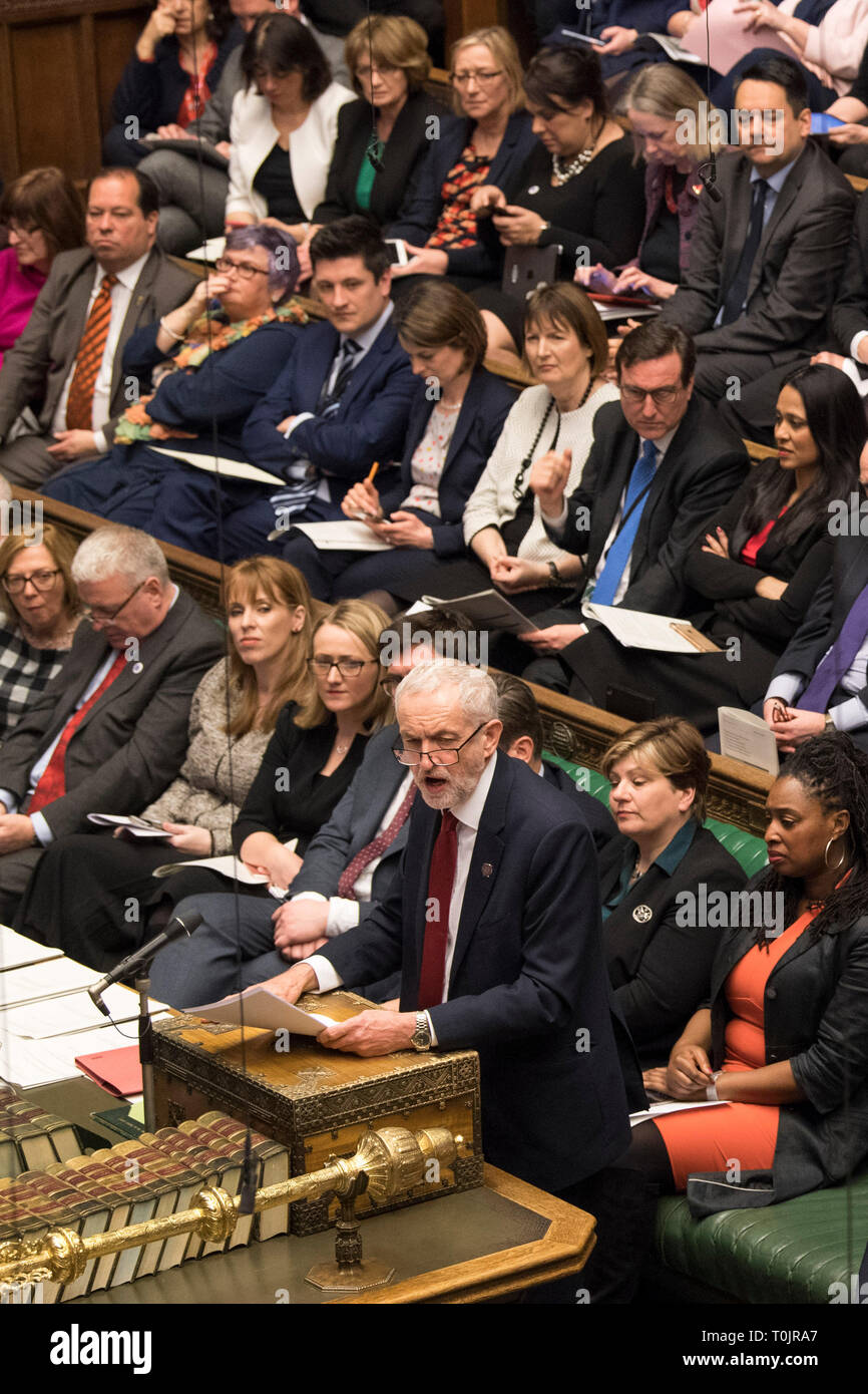London, UK. 20th Mar, 2019. Jeremy Corbyn (Front), leader of British Labor Party, attends the Prime Minister's Question Time in the House of Commons in London, Britain, on March 20, 2019. British Prime Minister Theresa May confirmed Wednesday she has written to the European Union seeking to delay Britain's departure from the bloc until June 30. Credit: UK Parliament/Mark Duffy/Xinhua/Alamy Live News - Stock Image