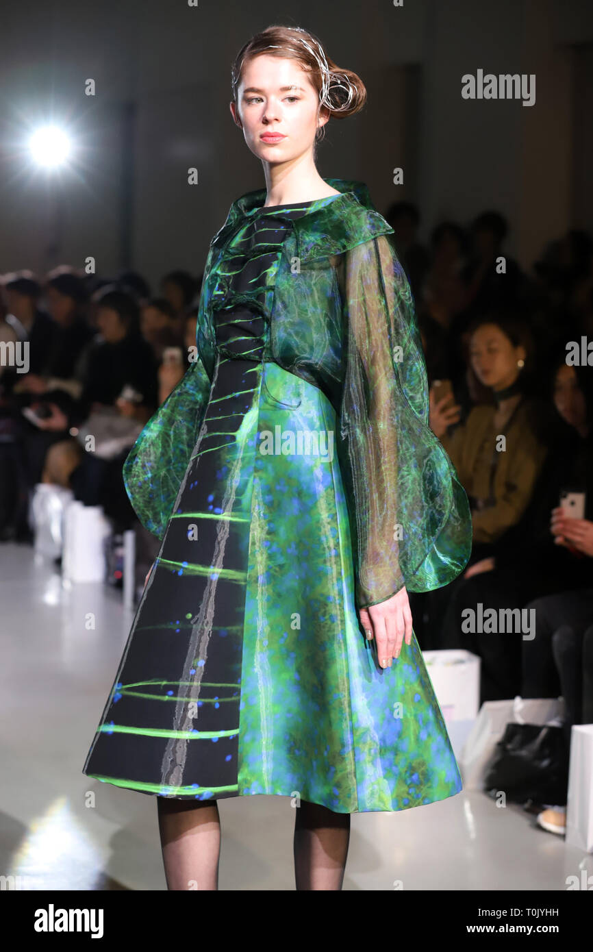 Tokyo Japan 20th Mar 2019 A Model Displays A Creation Of Japanese Designer Ema Rie At