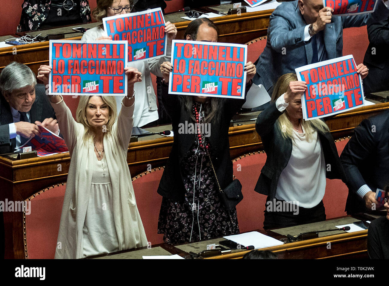 Rome, Italy. 21st Mar, 2019. Senate - Motions of no confidence on Minister Danilo Toninelli In the pic Protest by Forza Italia party Credit: LaPresse/Alamy Live News - Stock Image