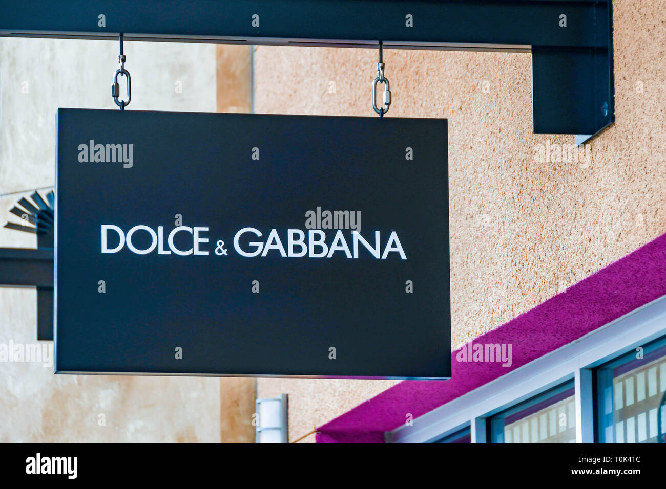 LAS VEGAS, NV, USA - FEBRUARY 2019: Sign above the entrance to the Dolce & Gabbana store in the Premium Outlets north in Las Vegas. - Stock Image