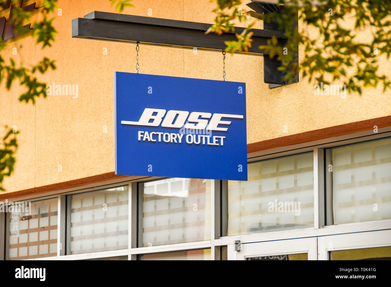 LAS VEGAS, NV, USA - FEBRUARY 2019: Sign above the entrance to the Bose store in the Simon Premium Outlets north in Las Vegas. - Stock Image