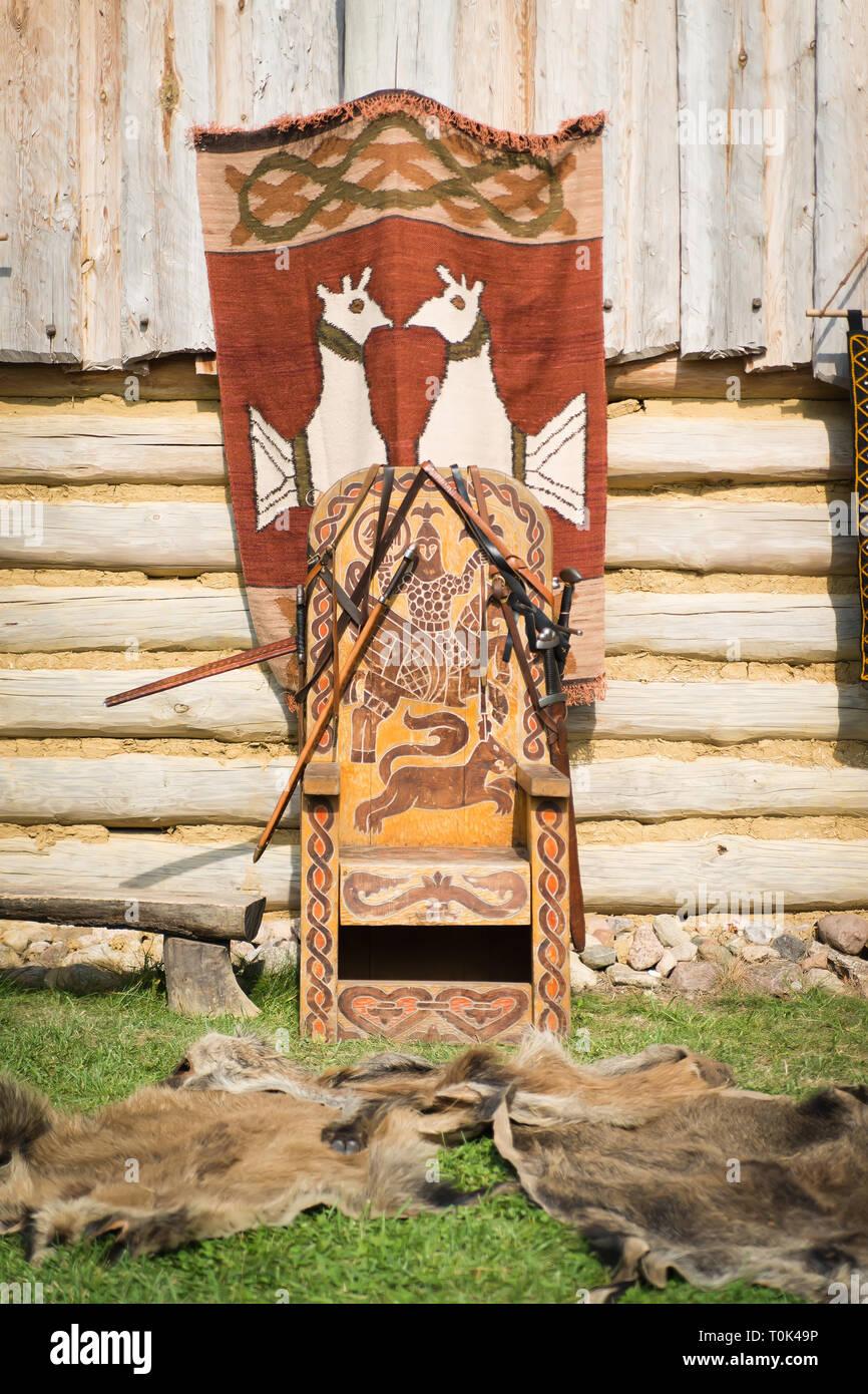 Old throne of slavic prince - Stock Image