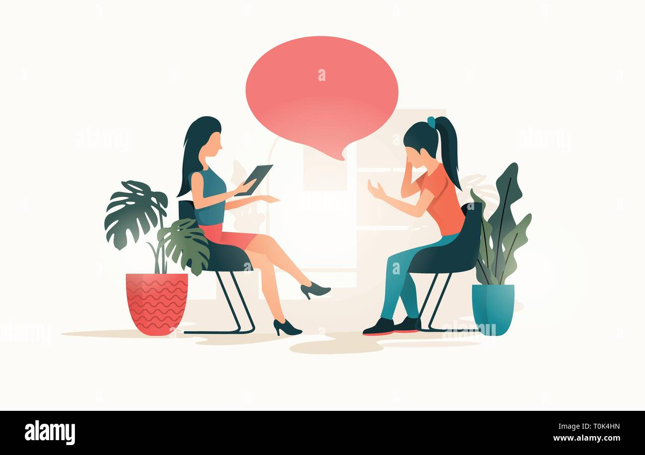 A young women talking to a therapist about her issues and wellbeing. People Vector illustration - Stock Vector