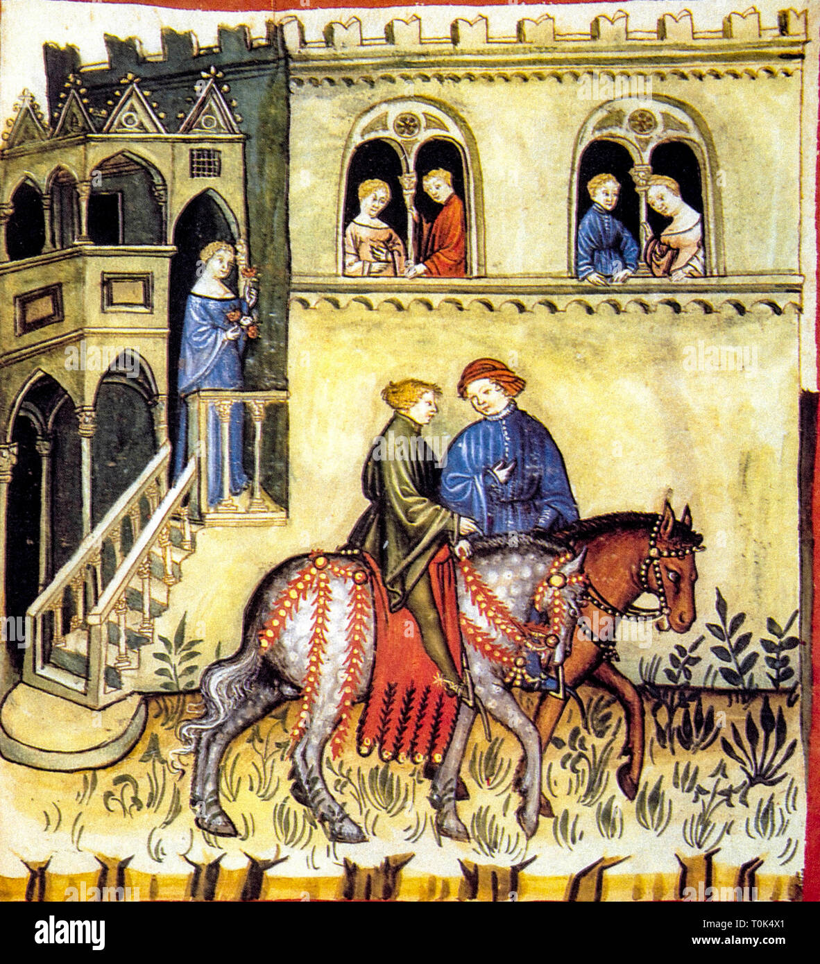 Courtly scene from the Codex Vindobonensis - Stock Image