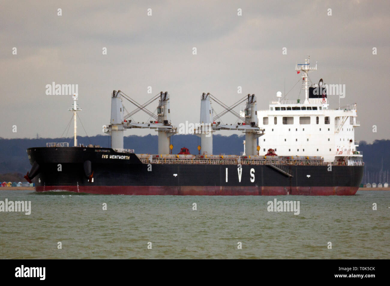 Ship,Shipping,Bulk,Carrier,IVS,Wentworth,Singapore,flag,home,port,leaving Southampton,Port,entering,The Solent,Cowes,Isle of Wight, England,UK, - Stock Image