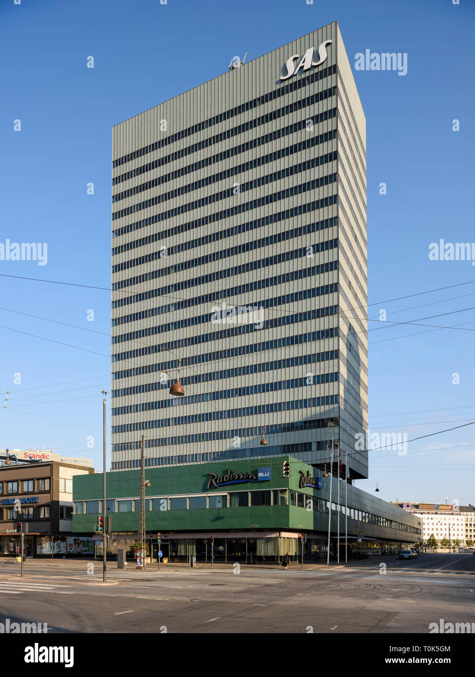 Copenhagen. Denmark. SAS Hotel, (now the Radisson Collection Hotel, Royal Copenhagen) designed by Arne Jacobsen and completed in 1961. Stock Photo