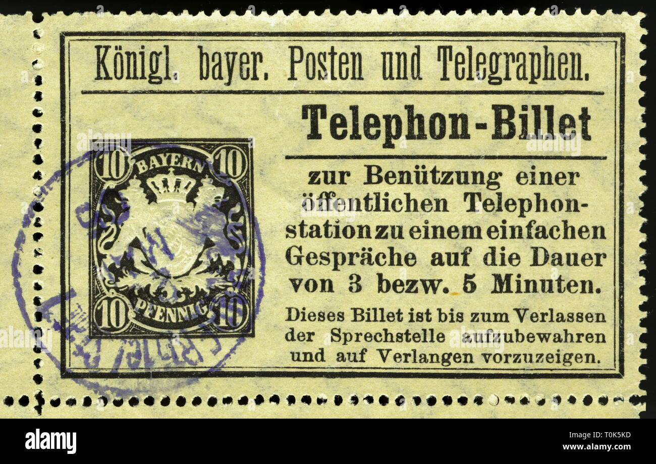 mail, telephone, billet, postmarked, 10 pfennig, Royal Bavarian mail, for the usage of a public telephone station for a simple call from 3 to 5 minutes, Bavaria, Germany, 1894, Additional-Rights-Clearance-Info-Not-Available - Stock Image