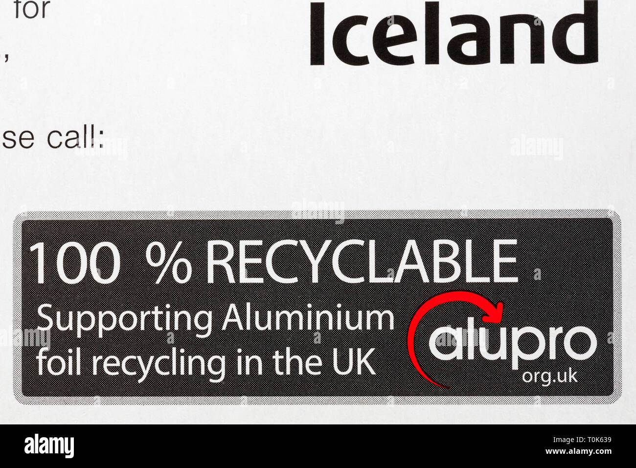 100% recyclable Supporting Aluminium foil recycling in the UK alupro - detail on box of Iceland extra thick kitchen foil - Stock Image