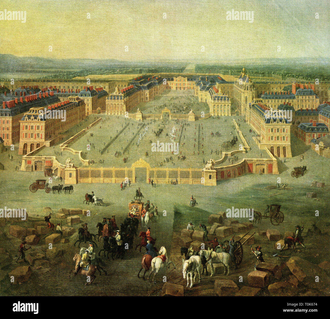 geography / travel, France, castles, Versailles, overview, print after painting by Pierre Denis Martin, 1722, Artist's Copyright has not to be cleared - Stock Image