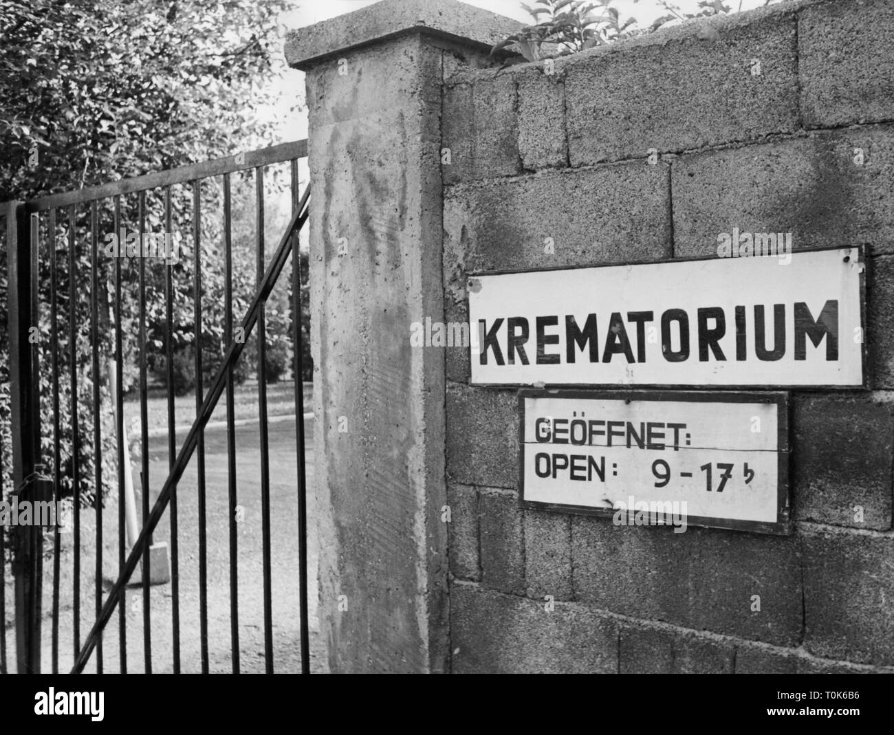 geography / travel, Germany, Dachau, concentration camp, memorial site, entrance to the crematory, 1960, Additional-Rights-Clearance-Info-Not-Available Stock Photo