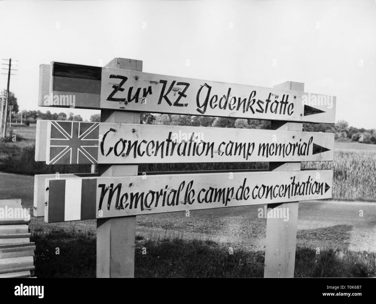 geography / travel, Germany, Dachau, concentration camp, memorial site, sign, 1960, Additional-Rights-Clearance-Info-Not-Available Stock Photo