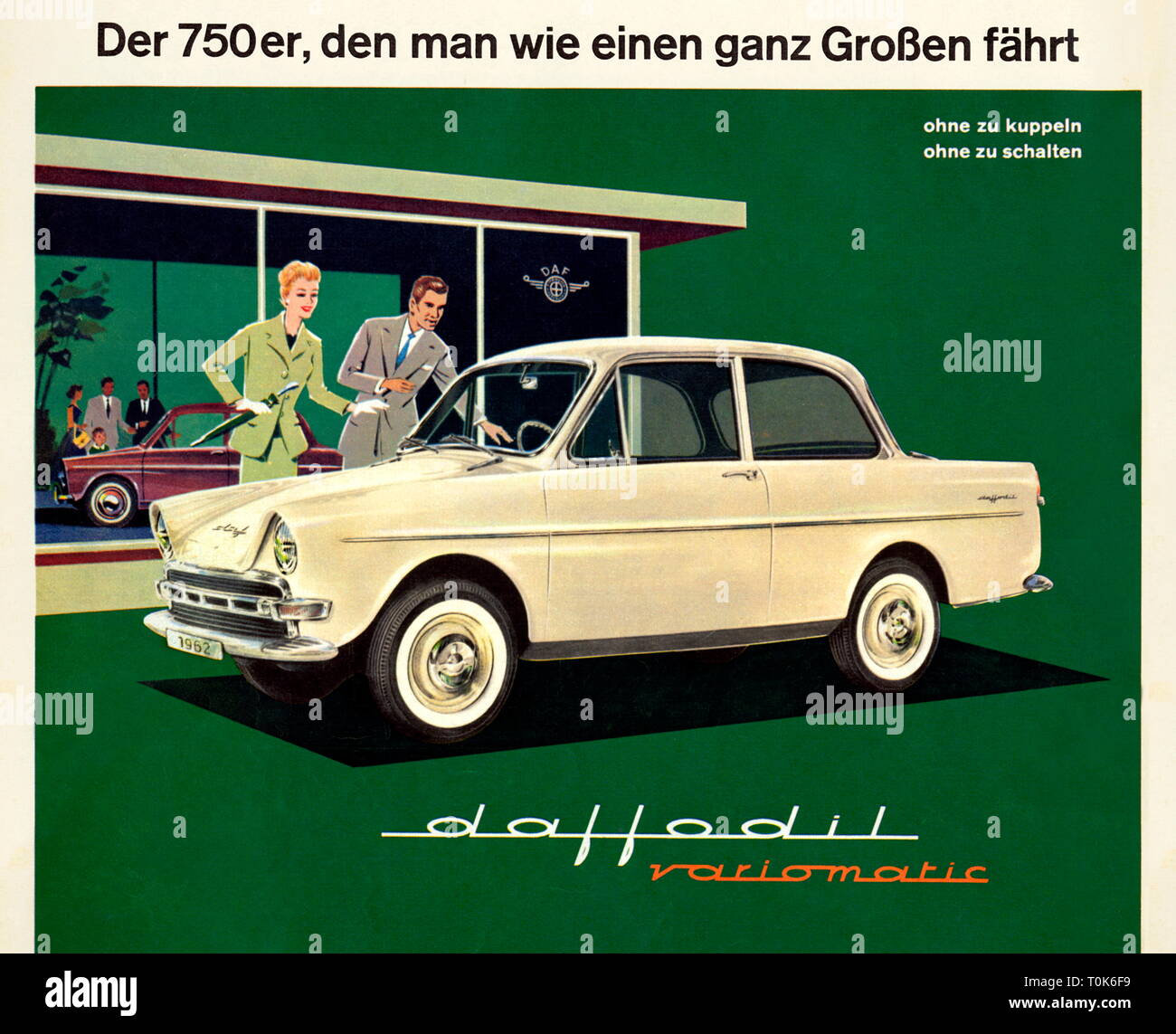 advertising, car, daf, edition daffodil variomatic, Dutch small car, four-seater, automatic transmission, 30 horsepower, engine 750 cubic centimetre, four-stroke engine, maximum speed 105 kmph, original price DM 4290 for basic version, build from 1961 until 1963, Germany, 1961, Additional-Rights-Clearance-Info-Not-Available - Stock Image