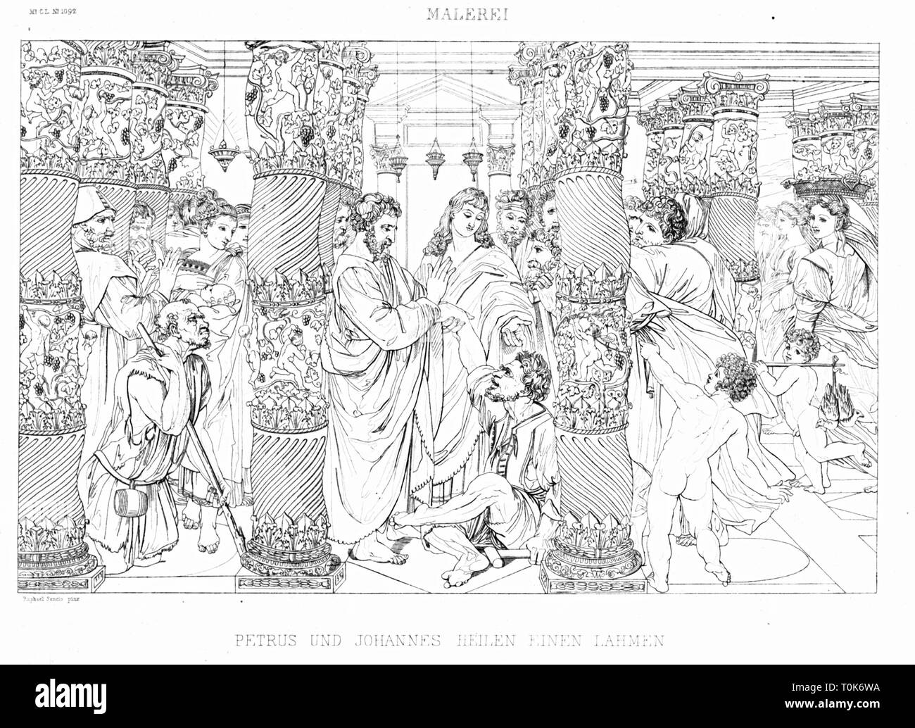 religion, biblical scenes, 'The Healing of the Lame Man', steel engraving, 19th century, after a painting by Raffaello Sanzio (Raphael), circa 1516, Additional-Rights-Clearance-Info-Not-Available - Stock Image