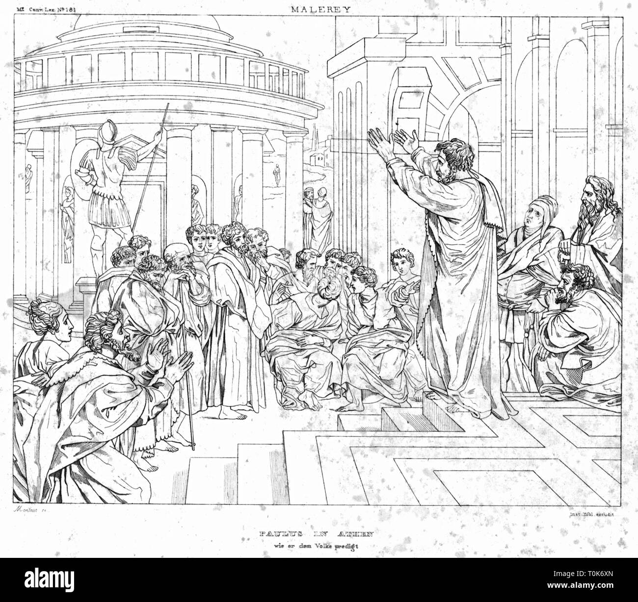 religion, biblical scenes, 'St. Paul Preaching in Athens', steel engraving, 19th century, after a painting by Raffaello Sanzio (Raphael), 1515, Additional-Rights-Clearance-Info-Not-Available - Stock Image