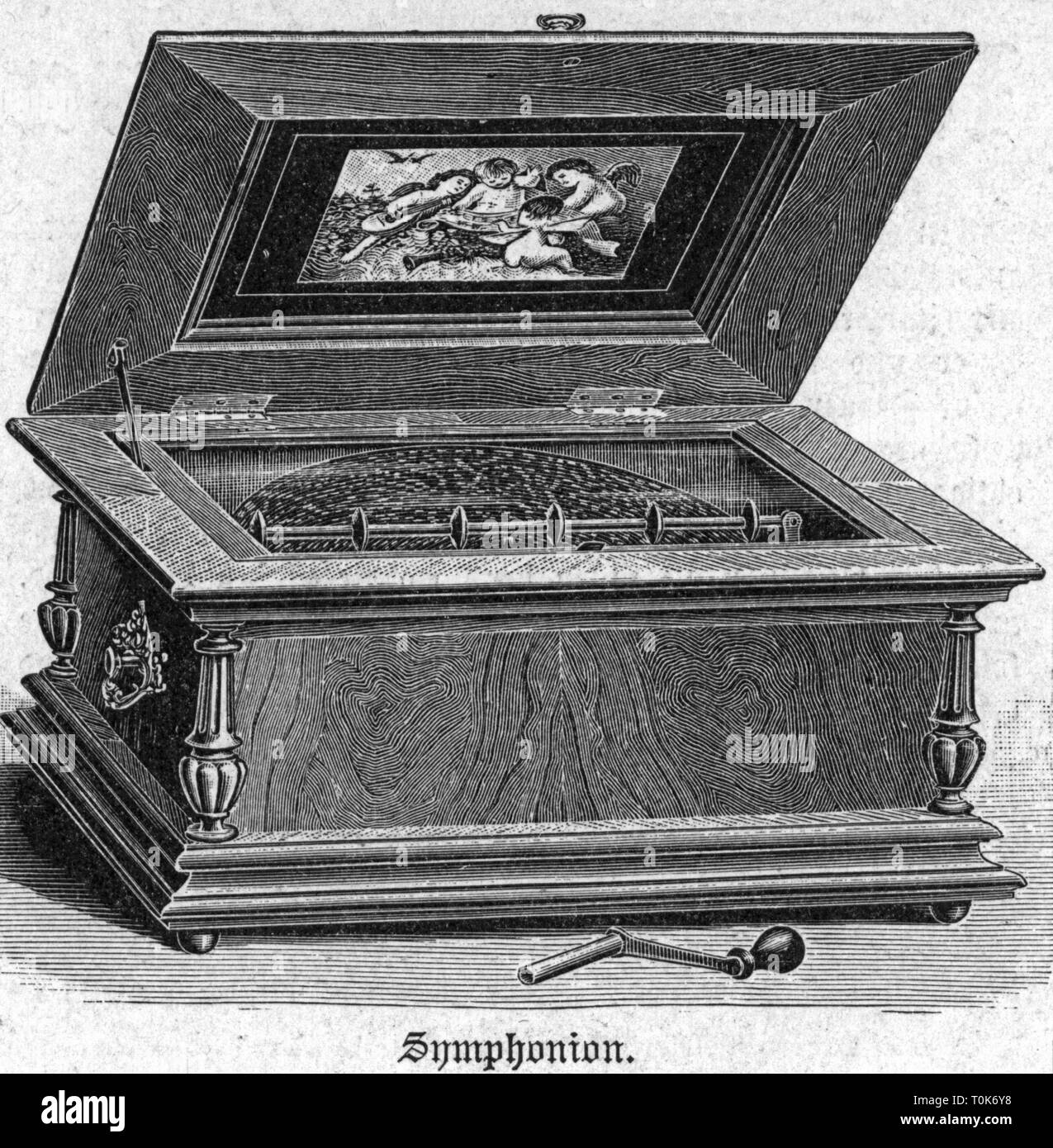 music, musical boxes, Symphonion, Lochmann'sche Musikwerke AG, Leipzig-Gohlis, wood engraving after drawing by Strassberger, 1892, Additional-Rights-Clearance-Info-Not-Available Stock Photo
