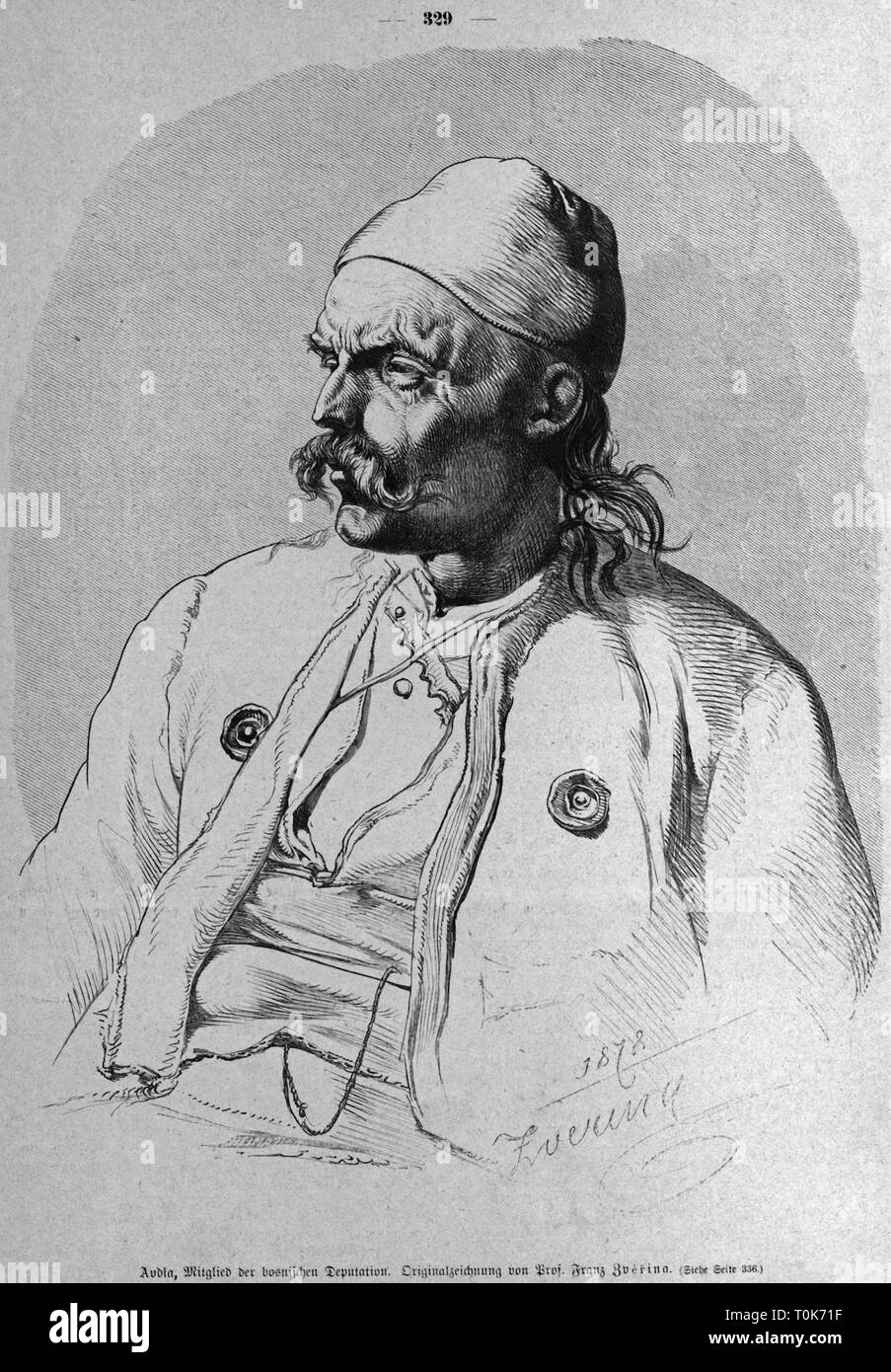 people, ethnology, men, Bosnia, portrait of Avdia, member of the Bosnian delegation (to the Congress of Berlin ?), wood engraving after drawing by Franz Zverina, 1878, Additional-Rights-Clearance-Info-Not-Available - Stock Image
