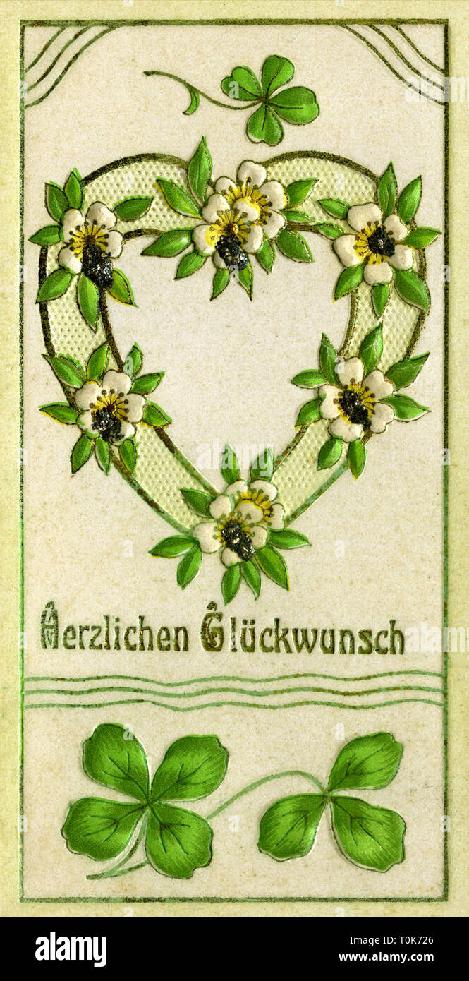 kitsch / cards / souvenirs, best wishes, floral heart, very decorative billet, Germany, circa 1910, Additional-Rights-Clearance-Info-Not-Available - Stock Image