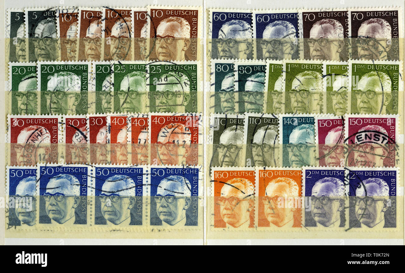 mail, postage stamps, Germany, 1970 until 1973, Gustav Heinemann, 1899 until 1976, Federal President, 1969 until 1974, series of postage stamps, Additional-Rights-Clearance-Info-Not-Available - Stock Image