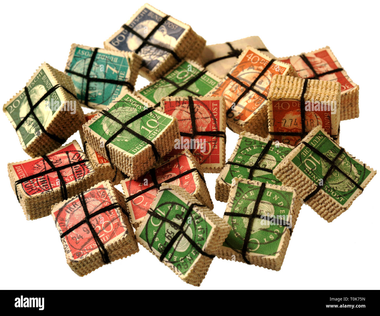 mail, postage stamps, Germany, 1954, 1959, 1973, postage stamps, Theodor Heuss, 1884 until 1963, Federal President 1949 until 1959, period postage stamp, Gustav Heinemann, 1899 until 1976, Federal President, 1969 until 1974, Additional-Rights-Clearance-Info-Not-Available - Stock Image