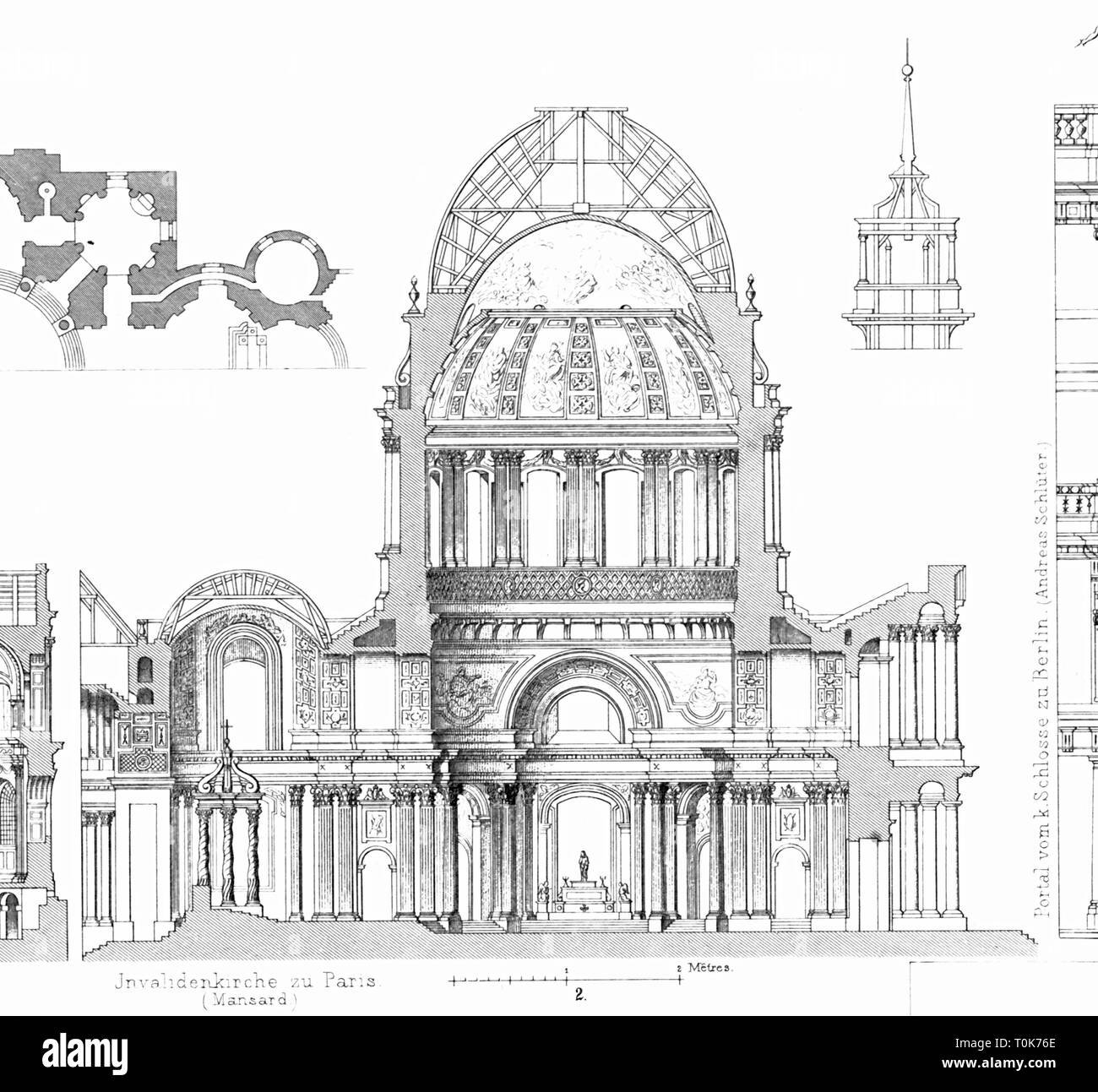 geography / travel, France, Paris, churches, Chapel of Saint-Louis-des-Invalides, built: 1670 - 1679, architect: Jules Hardouin Mansart, cross-section, illustration from 'Denkmaeler der Kunst' (Monuments of Art), by Wilhelm Luebke and Carl von Luetzow, 3rd edition, Stuttgart 1879, volume 2, steel engraving by H. Gugeler, after drawing by Wilhelm Riefstahl, chapter on architecture, plate L, Western Europe, churches, architecture, 17th century, church, baroque, sacred, religious, building, buildings, historic, historical, Denkmaler, Denkmäler, Lübk, Additional-Rights-Clearance-Info-Not-Available - Stock Image