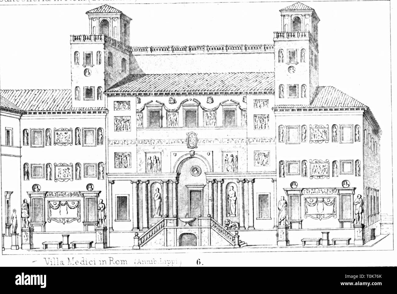 geography / travel, Italy, Rome, buildings, Villa Medici, completed in 1544, exterior view, illustration from 'Denkmaeler der Kunst' (Monuments of Art), by Wilhelm Luebke and Carl von Luetzow, 3rd edition, Stuttgart 1879, volume 2, steel engraving by H. Gugeler, after drawing by Wilhelm Riefstahl, chapter on architecture, plate XLVI, Renaissance, Southern Europe, capital, capital city, capitals, capital cities, metropolis, building, 16th century, historic, historical, Denkmaler, Denkmäler, Lubke, Lübke, Additional-Rights-Clearance-Info-Not-Available - Stock Image