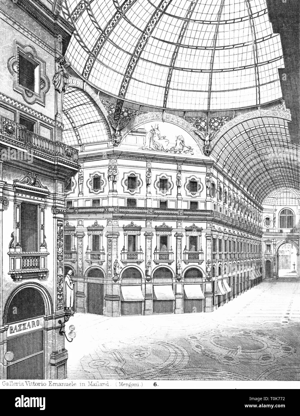 geography / travel, Italy, Milan, buildings, Galleria Vittorio Emanuele II, built 1867 - 1878, interior view, illustration from 'Denkmaeler der Kunst' (Monuments of Art), by Wilhelm Luebke and Carl von Luetzow, 3rd edition, Stuttgart 1879, volume 2, steel engraving chapter on architecture, plate LXIII, Denkmaler, Denkmäler, Lubke, Lübke, Lutzow, Lützow, Europe, 19th century, glass dome, glass domes, arcade, arcades, gallery, historic, historical, Additional-Rights-Clearance-Info-Not-Available - Stock Image