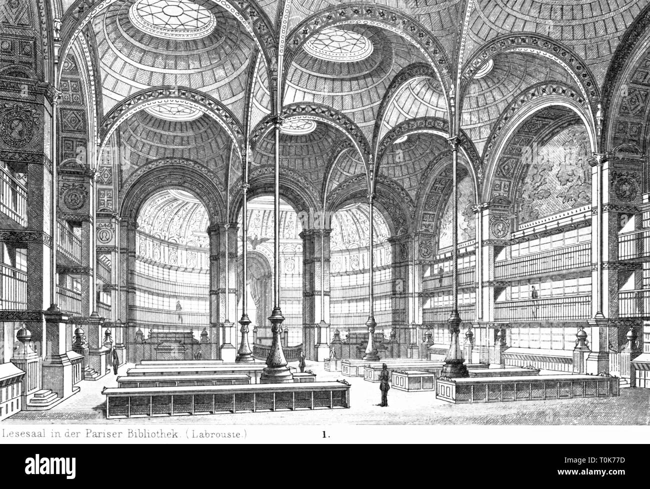 geography / travel, France, Paris, buildings, National Library of France (Bibliotheque Nationale de France), interior view, reading room, opened in 1868, illustration from 'Denkmaeler der Kunst' (Monuments of Art), by Wilhelm Luebke and Carl von Luetzow, 3rd edition, Stuttgart 1879, volume 2, steel engraving after drawing by Baldinger, chapter on architecture, plate LXII, Denkmaler, Denkmäler, Lubke, Lübke, Lutzow, Lützow, historic, historical, 19th century, French, library, libraries, reading, read, hall, halls, pillar, pillars, Additional-Rights-Clearance-Info-Not-Available - Stock Image