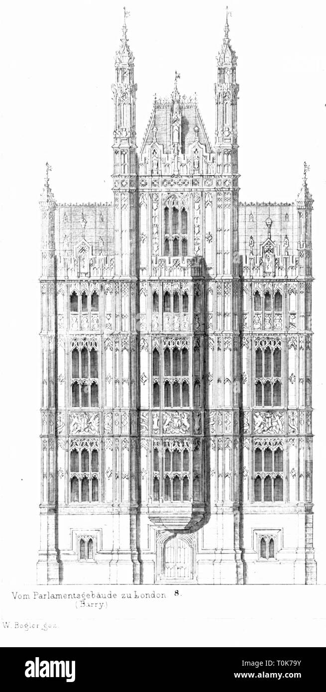 geography / travel, Great Britain, England, London, buildings, Palace of Westminster, built 1840 - 1852, architect: Charles Barry, detail, exterior view, illustration from 'Denkmaeler der Kunst' (Monuments of Art), by Wilhelm Luebke and Carl von Luetzow, 3rd edition, Stuttgart 1879, volume 2, steel engraving by H. Walther, after drawing by W. Bogler, chapter on architecture, plate LVII, historic, historical, Denkmaler, Denkmäler, Lubke, Lübke, Lutzow, Lützow, 19th century, neo-Gothic style, Gothic Revival, Gothic style, Gothic period, Gothic, neo, Additional-Rights-Clearance-Info-Not-Available - Stock Image