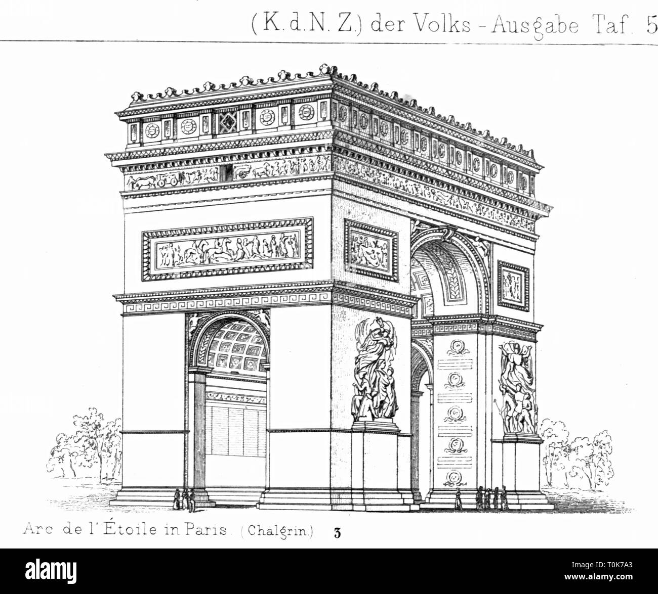 geography / travel, France, Paris, buildings, Triumphal Arch (Arc de Triomphe), built 1808 - 1835, illustration from 'Denkmaeler der Kunst' (Monuments of Art), by Wilhelm Luebke and Carl von Luetzow, 3rd edition, Stuttgart 1879, volume 2, steel engraving by H. Gugeler, after drawing by Wilhelm Riefstahl, chapter on architecture, plate LI, building, 19th century, historic, historical, landmark, monument, monuments, landmarks, Denkmaler, Denkmäler, Lübke, Lubke, Lützow, Lutzow, Additional-Rights-Clearance-Info-Not-Available - Stock Image