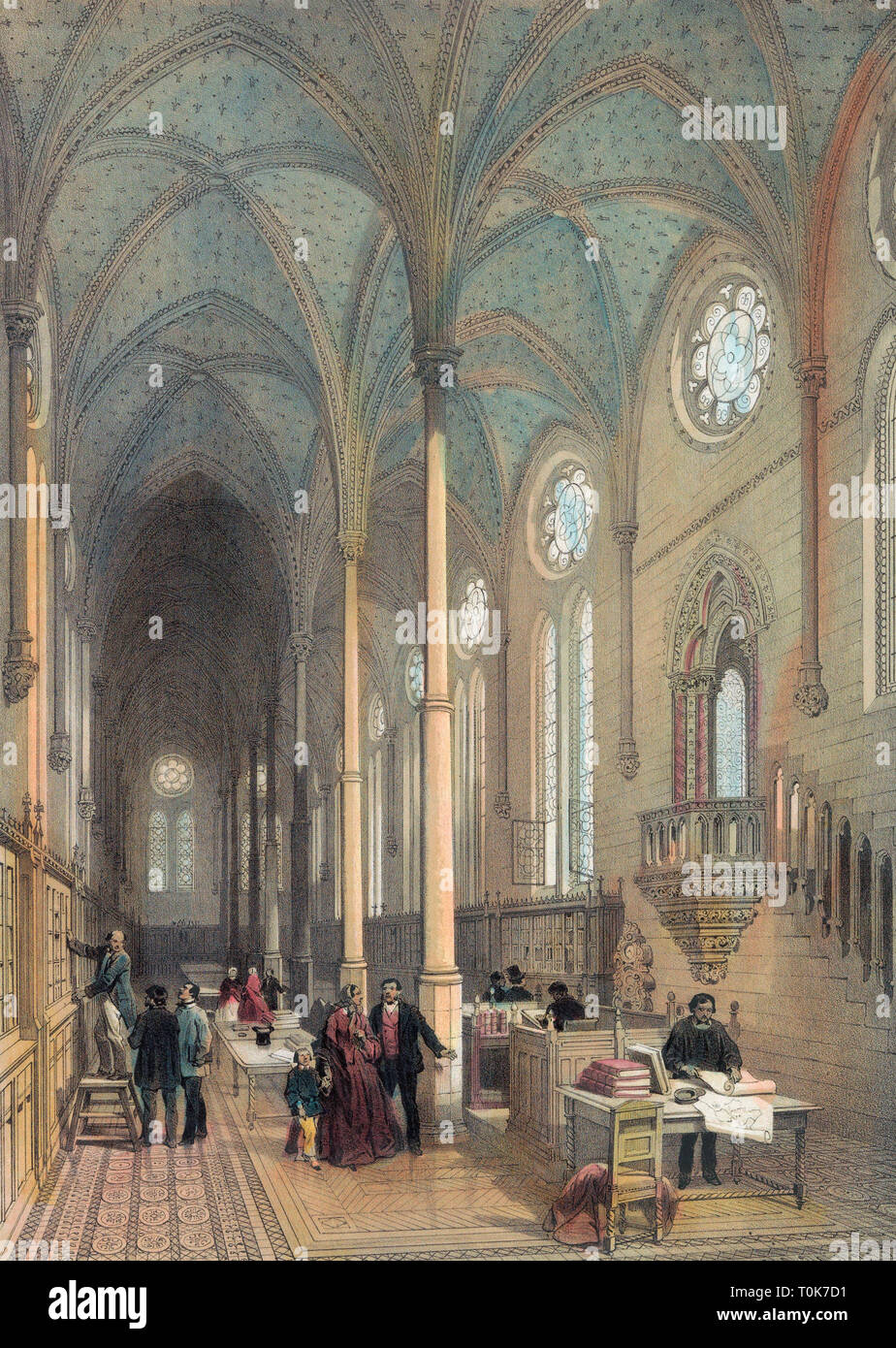 Mid-19th century chromolithograph of the library of the  Musee des Arts et Metier, or Museum of Arts and Trades, some of which is housed in the remains of the ancient priory church of Saint-Martin-des-Champs, Paris, France. - Stock Image