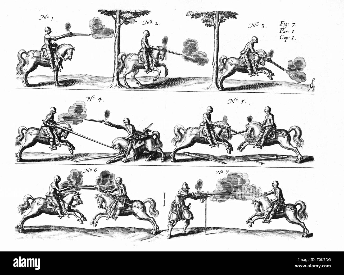 military, knights with firearms, copper engraving, illustration from 'Kriegskunst zu Pferdt' (The Art of War on Horseback), by Johann Jacob von Wallhausen, Frankfurt am Main, Germany, 1616, Additional-Rights-Clearance-Info-Not-Available - Stock Image