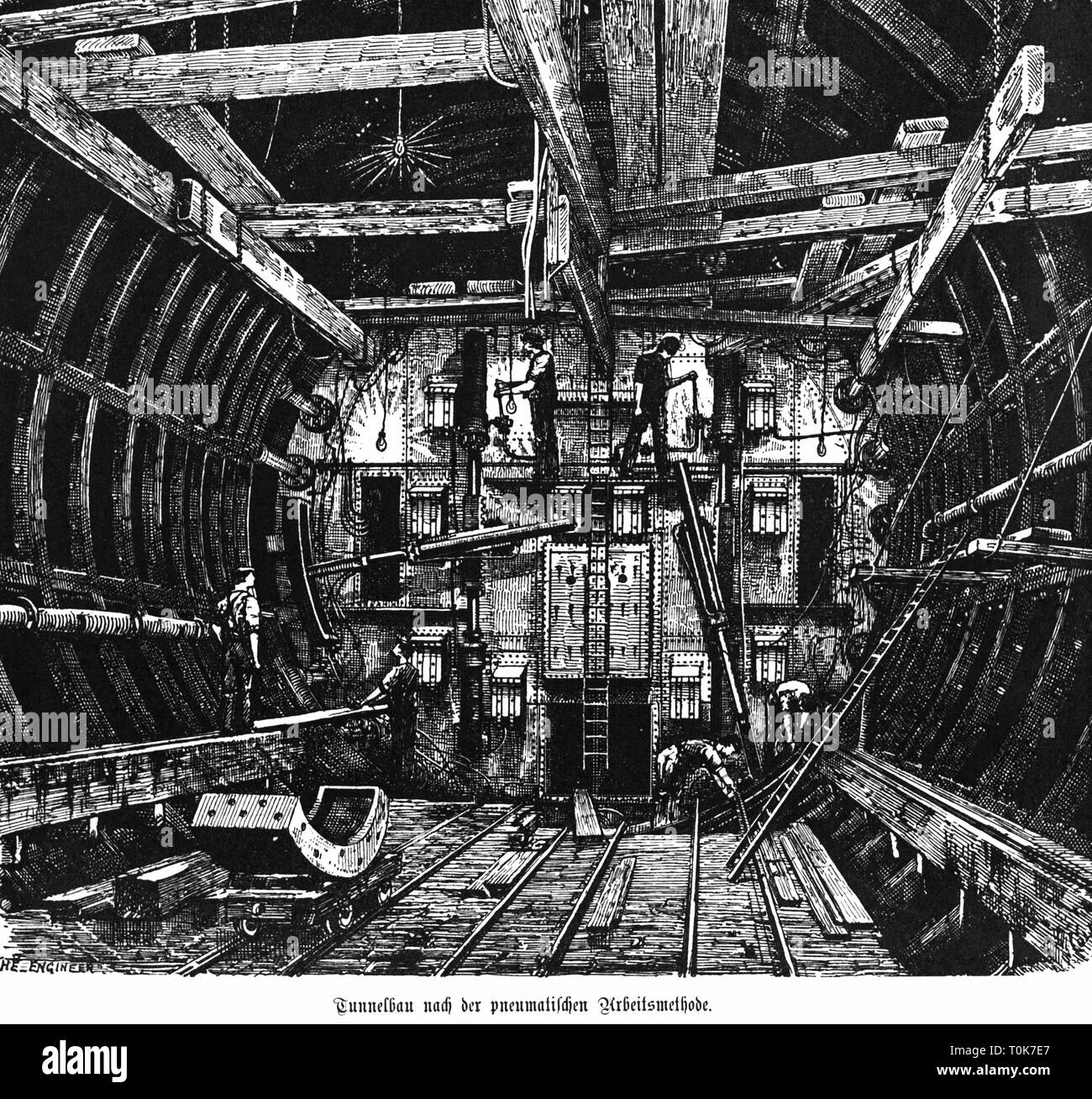 architecture, tunneling, pneumatic tunnelling shield, etching, late 19th century, Additional-Rights-Clearance-Info-Not-Available - Stock Image